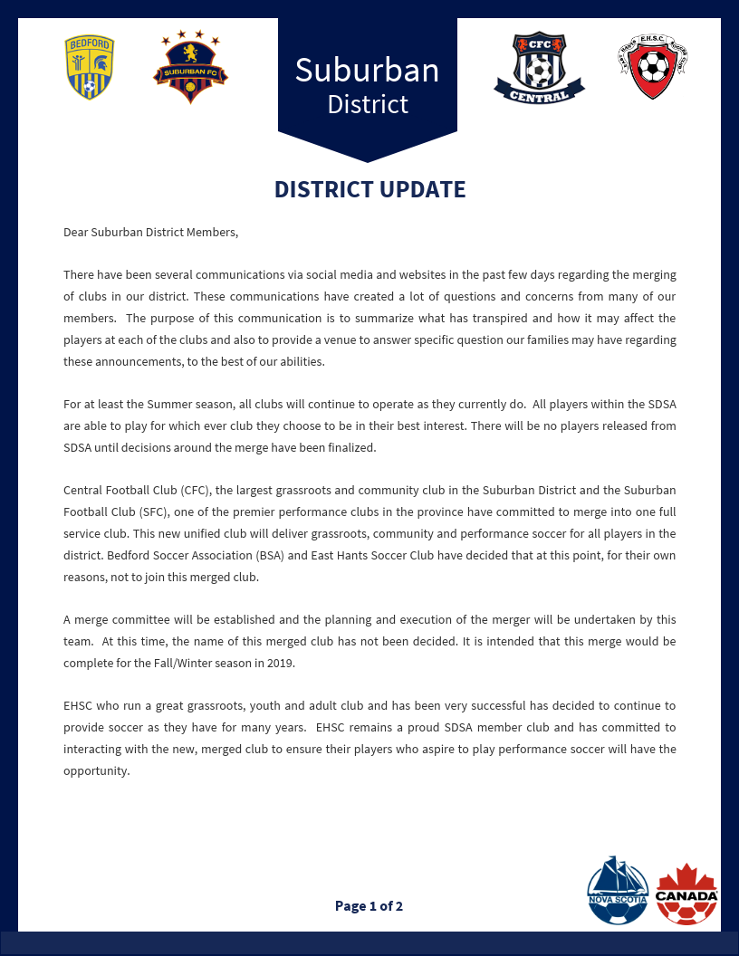 Suburban District Announcement