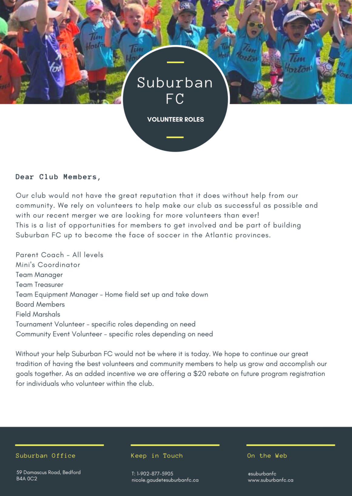 Suburban FC is actively seeking volunteers for the Summer 2020 season!