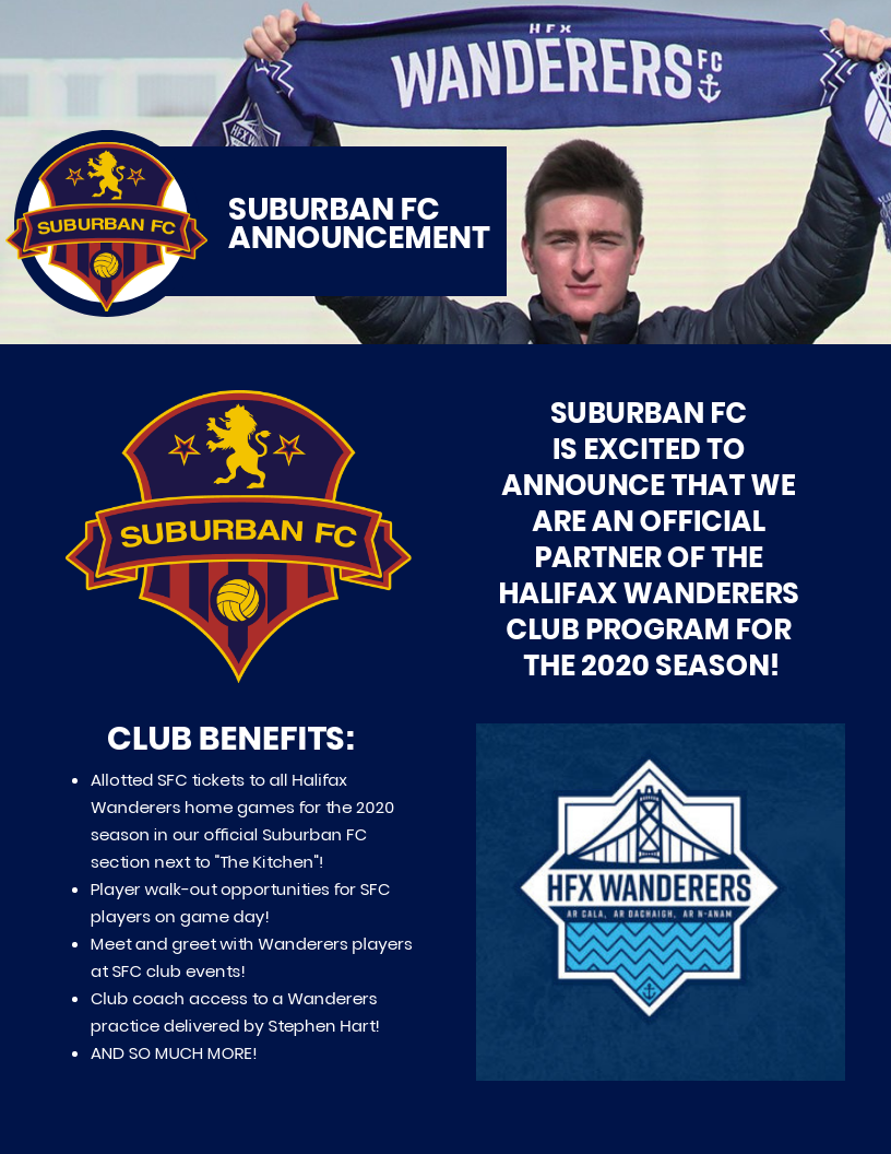 Suburban FC announces Halifax Wanderers club program partnership!