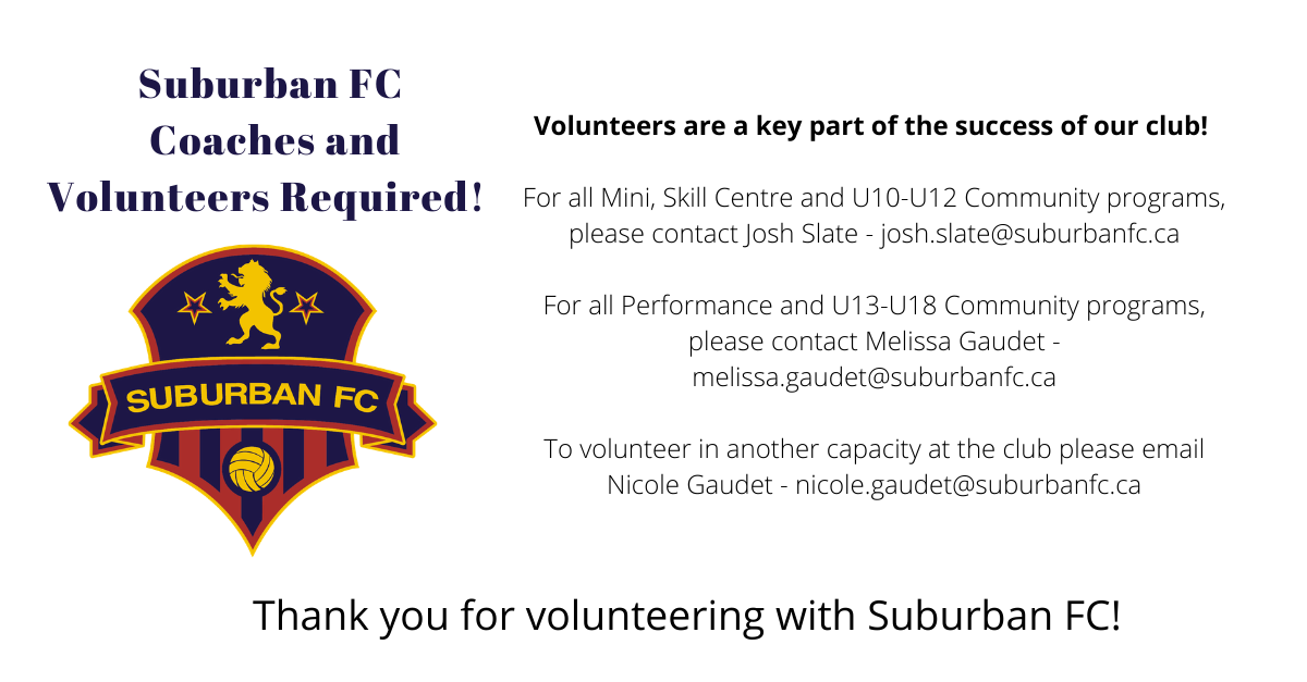 Suburban FC Coaches and Volunteers Required